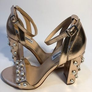 Steve Madden Rose Gold and Pearl Chunky Heel  7.5